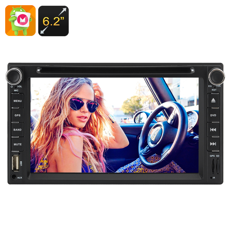 2 DIN 6.2 Inch Touchscreen Car DVD Player - Quad-Core CPU, 1GB RAM, Android 6.0, 3G Support, WIFI Bluetooth FM GPS CVABR-C424