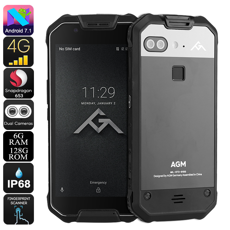 AGM X2 Rugged Android Phone - Android 7.1, Octa-Core CPU, 6GB RAM, 128GB ROM, 5.5-Inch FHD, IP68, Dual-IMEI, 4G
