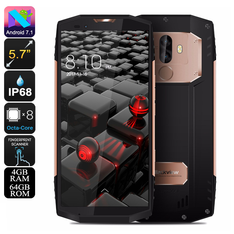 HK Warehouse Blackview BV9000 Phone - IP68, Android 7.0, 4GB RAM, 64GB Memory, 5.7 Inch Screen, 4G LTE, 13MP (Gold)