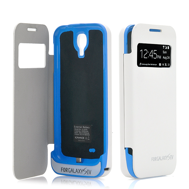 External Battery Case with Flip Cover for Samsung Galaxy S4 - 4200mAh, Notification View Cover