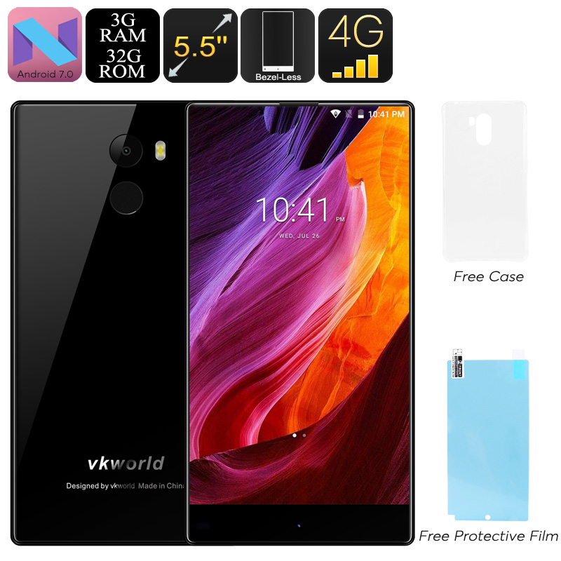 VKWorld Mix Plus Android Phone - Bezel Less Display, Android 7.0, Dual-IMEI, 3GB RAM. Quad-Core, 4G, 5.5-Inch (Black)