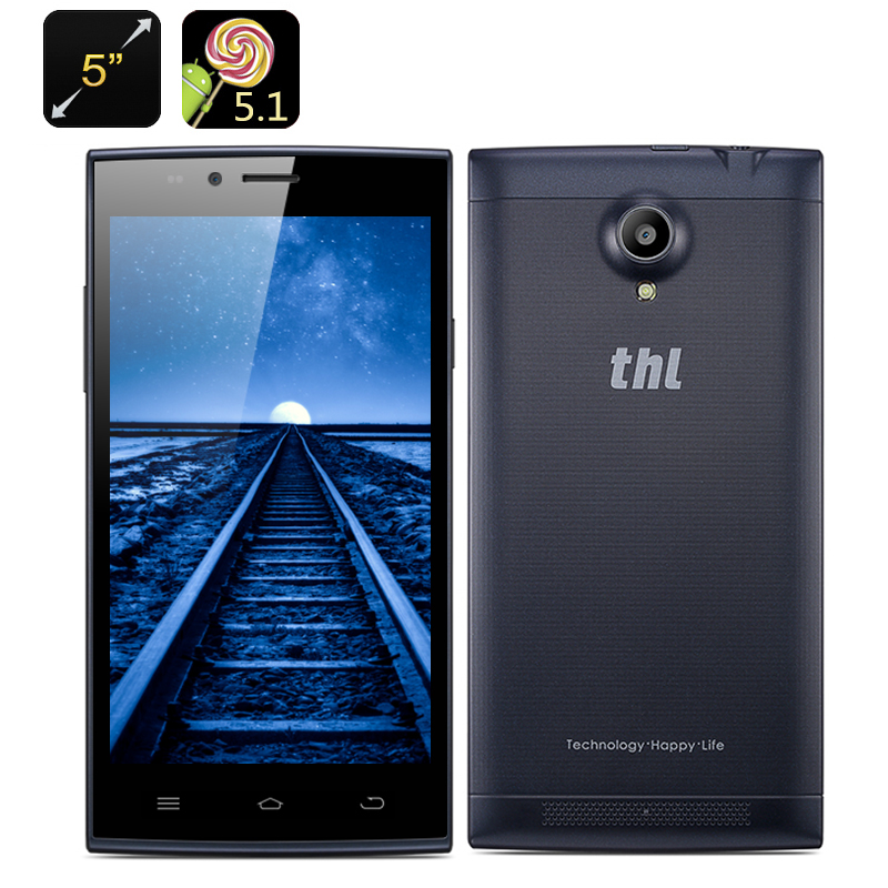 THL T6C Android 5.1 Smartphone - 5 Inch IPS Display, MTK6580 Quad Core CPU, 1GB RAM, Front + Rear Camera, Dual SIM (Navy Blue)