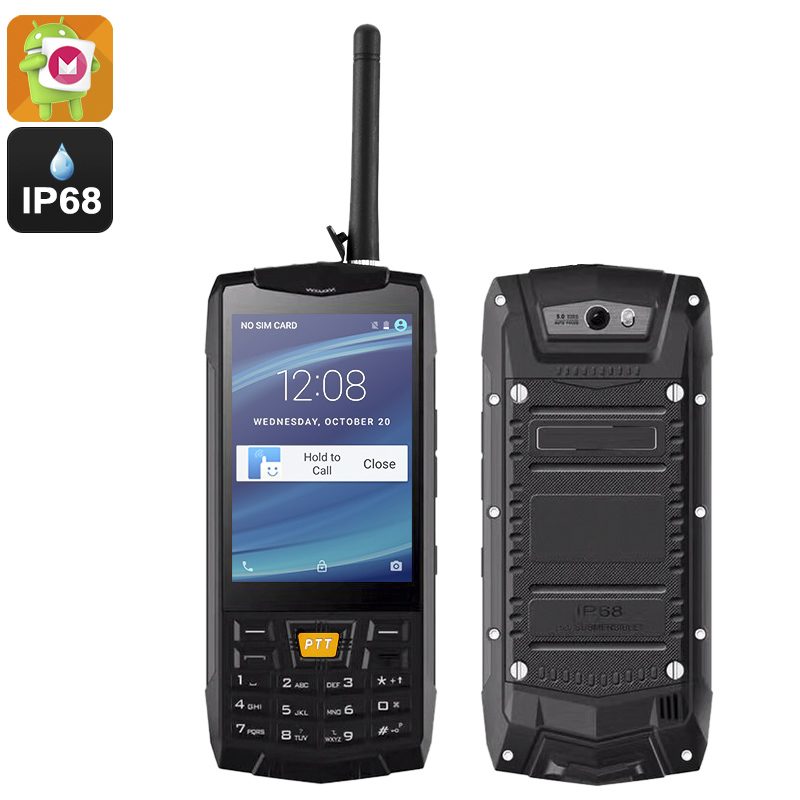 Rugged Android 6.0 Smartphone - Android 6.0, Quad Core CPU, Walkie Talkie, SOS, Keypad (Black)