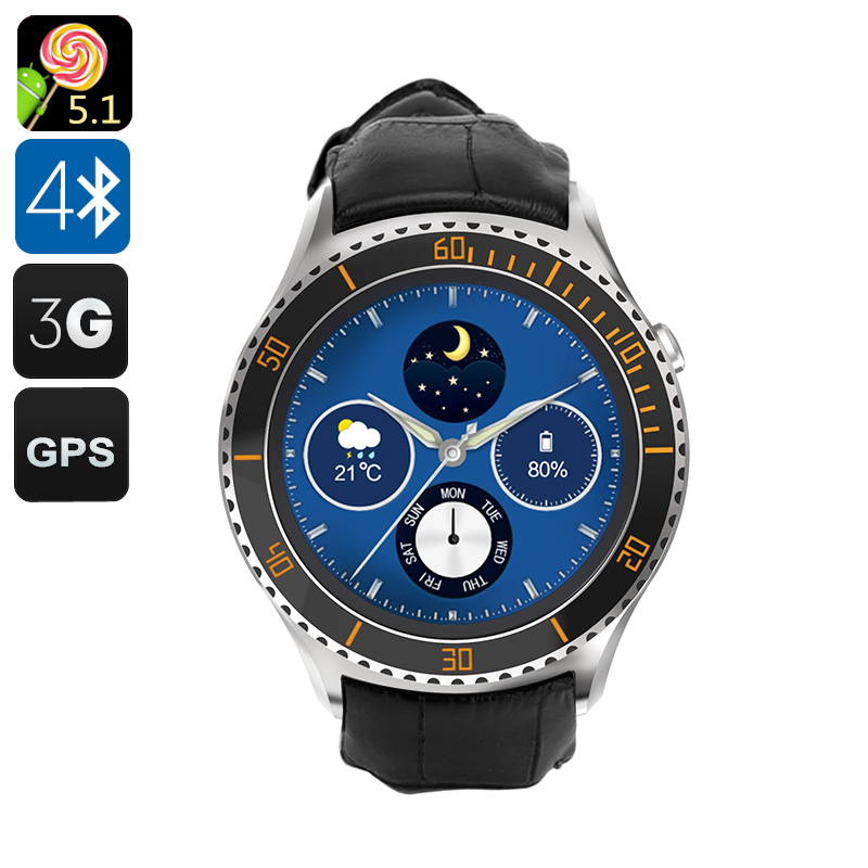 IQI I2 Android Smart Watch - 3G, Android 5.1, GPS, Bluetooth 4.0, Wi-Fi, Play Store, Pedometer, Heart Rate Monitor (Silver) CVAHI-M932-Silver