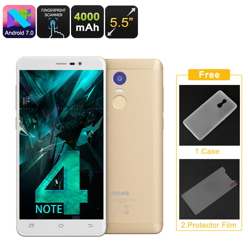 Uhans Note 4 Android Smartphone - 5.5-Inch, Quad-Core CPU, 3GB RAM, Android 7.0, Dual-IMEI, 4G, 13MP Camera, 4000mAh (Gold)