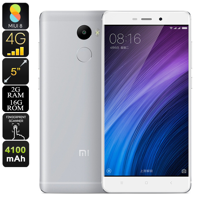 Xiaomi Redmi 4 Smartphone - 5 Inch Display, 2GB RAM, 4100mAh Battery, Octa-Core CPU, Fingerprint Sensor, Android 6.0 (Silver)