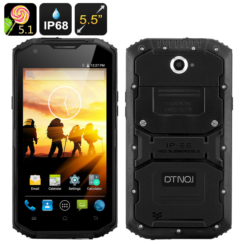 DTNO.1 Rugged Smartphone - Android 5.1, 5.5 Inch HD Screen, IP68, 4500mAh Battery, Two SIM, FM Radio (Black)